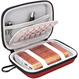 BOVKE EVA Shockproof Travel Carrying Storage Case Bag for Jackery Giant+ 12000 mAh 10200mAh, RAVPower 16750mAh/13000mAh, Anker PowerCore 10400 Portable Charger Power Bank External Battery,Red