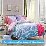 TTMALL CPM Twin Full Size Duvet Cover Bed Set, Cotton & Microfiber Rainbow Cloud, 4-Pieces