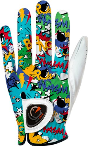 Custom Golf Gloves - easyglove COMICS_BANG-BLUE Men's Golf Glove (White), X-Large, Worn on Left Hand