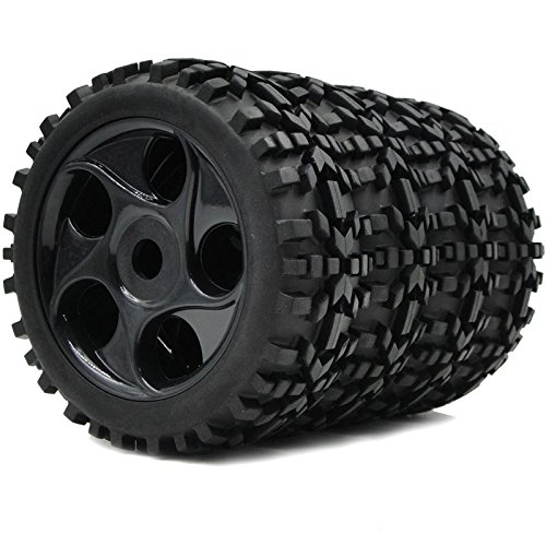 4pcs 1/8 RC Off Road Buggy Tires Badlands Tyres & Hex 17mm wheels for Losi HPI XTR Car ()