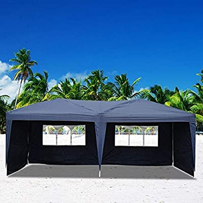 gonikm 10' X 20' Outdoor Wedding Party Tent Waterproof Folding Tent with Spiral Tubes, Patio Parties Tent Sunshade Shelter Canopy with Removable Sidewalls, (10' x 20' / 4 Sidewalls Blue) : Garden & Outdoor