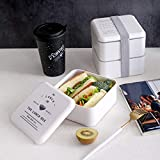 Two Stackable Bento Box Microwave Safe and Leak Proof | Lunch Containers 2 Layer, Lunch Box Kids & Adults For Healthy Snacks | Stylish Traditional Japanese Bento Box With Chopsticks BPA-Free