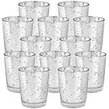 """Just Artifacts Mercury Glass Votive Candle Holder 2.75"""" H (12pcs, Speckled Silver) -Mercury Glass Votive Tealight Candle…"""