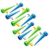 FREAHAP R Self Watering Stakes 12Pcs Dripping Spikes Automatic Water System Adjustable Flow Rate Drip Watering Seepage Controller Water Dropper for Houseplants Garden Great for Vacation