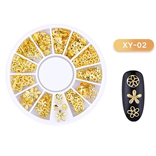 Nail Beads Rhinestones Stone Resin Gold Metal Studs Irregular 3D Decoration Colorful Nail Art with Wax Pen Rhinestone Picker Easily Picking Up Tools (B) (Metal Resin)