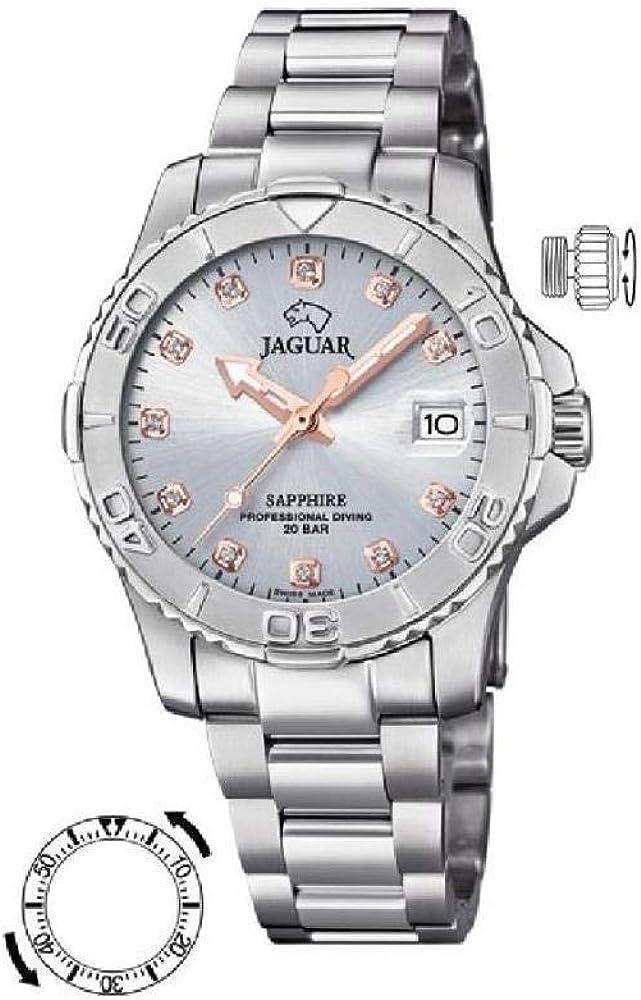 Reloj JAGUAR Executive SEÑORA, Swiss Made (Caja Acero, Esfera Gris, Indice Bronce)