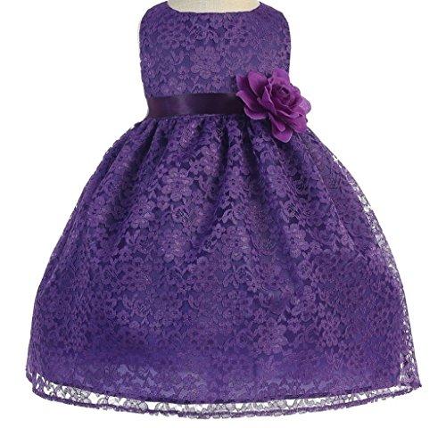 Little Baby Girls' Lovely Floral Lace Cute Wedding Easter Flowers Girls Dresses Purple Size (Spectacular Flower Girl Dress)