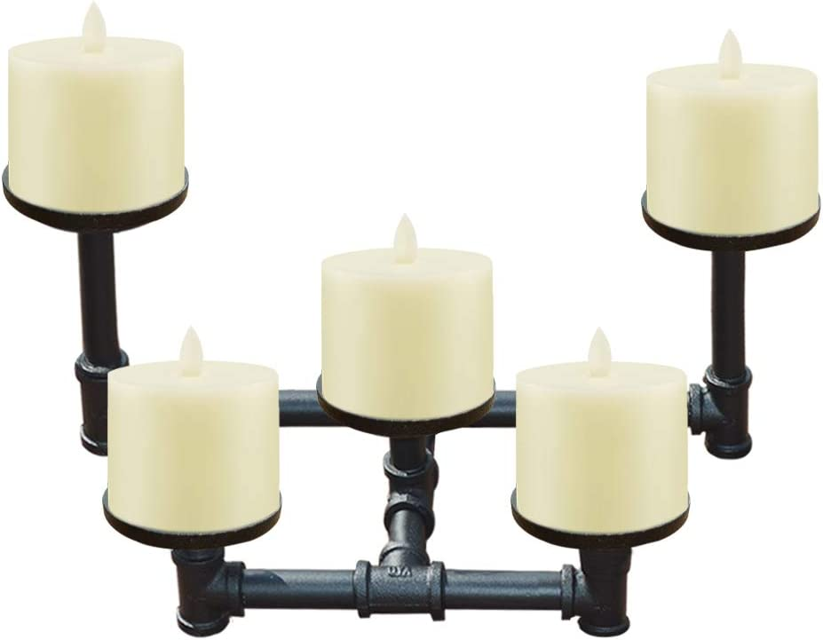 smtyle Industrial Candle Holders Candelabra Set of 5 Plate Black Iron Metal Willowr for Fireplace Decoration on Desk or Floor