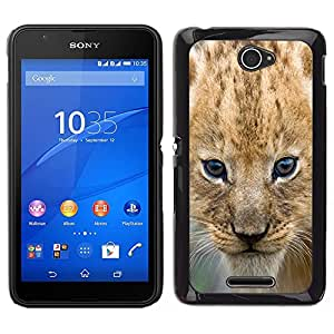 Stuss Case / Funda Carcasa protectora - Lion Cub Puppy Wild Cat Africa Safari Brown Eyes - Sony Xperia E4