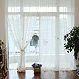 "Cotton Linen Long Solid Embroidery Rod Pocket Window Curtains/Drape/Panels/Treatment with Crochet Border, 71x100 inches (71"" Wx71"" H(180x180cm), White Embroidery Sheer)"