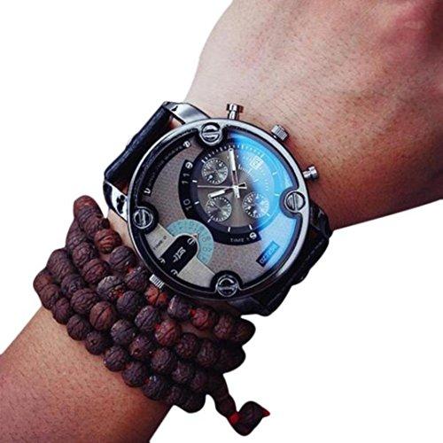 Gents Big Dial Quartz Analog Watch, SUPPION Men s Casual Watch Calendar Display Water Resistance PU Leather