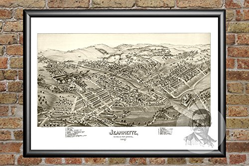 Ted's Vintage Art Jeannette Pennsylvania 1897 Vintage Map Print | Historic Westmoreland County, PA Art | Digitally Restored On Museum Quality Matte Paper 12