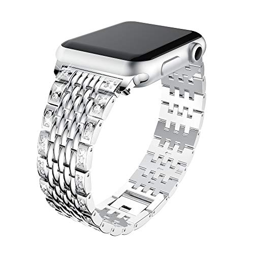 Price comparison product image Apple Watch Band,  Luxury Durable Premium Stainless Steel Strap Bracelet Replacement with Classic Clasp for Apple Watch Series 3, 2,  1,  Women and Men (Silver,  38mm)