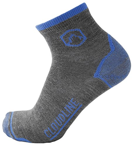 CloudLine Merino Wool 1/4 Top Running & Athletic Socks - Light Cushion - Large Glacial Blue - Made in the USA
