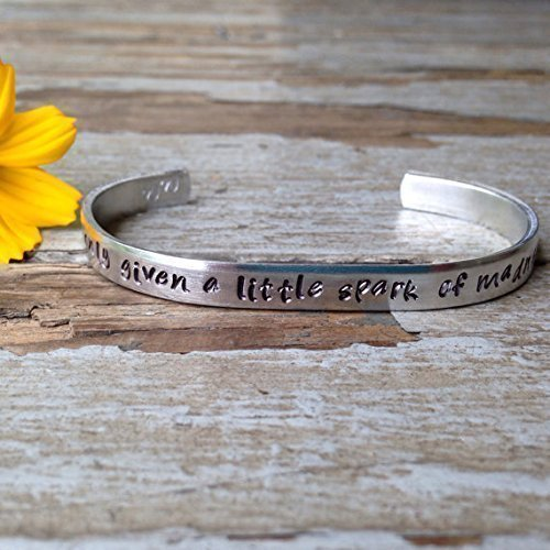 01 - You're only given a little spark of madness.... - robin williams quote inspired bracelet - depression awareness fundraiser