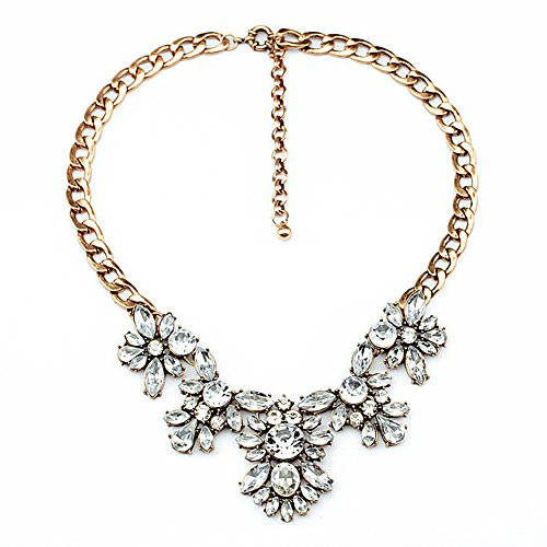 GYAYA Women Lady Golden Tone Rhinestone Glass Crystal Collar Choker Statement Bib ()