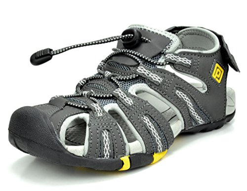 Dream Pairs 160912-W New Women's Adventurous Light-Weight Adjustable Straps Lady Summer Outdoor Sandal DK.GREY GREY YELLOW SIZE 8