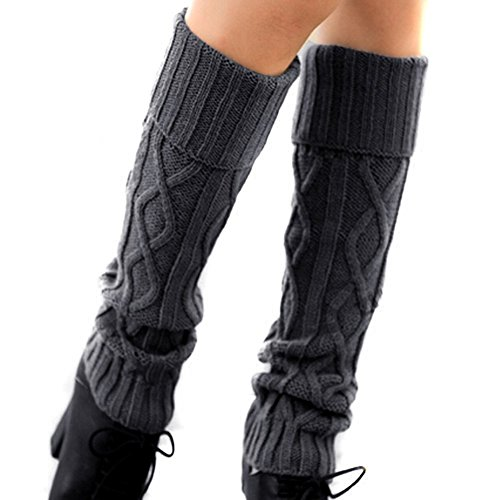 TININNA Winter Warme Crochet Stricken Damen Stulpen Beinstulpen Beinwärmer Kniestrümpfe Gestrickt Socken Beinlinge Strümpfe Grau