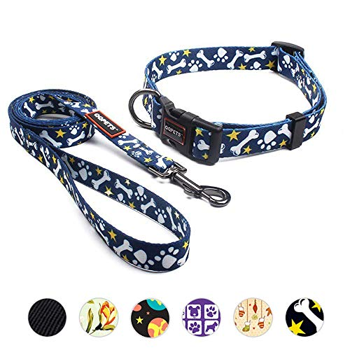 - QQPETS Dog Collar and Leash Set Durable Nylon Adorable Dog Collar for XS Extra Small Puppy Breed Girl Boy Up to 11lbs Adjustable Neck:7-10
