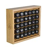 AllSpice Wooden Spice Rack, Includes 30 4oz Jars- Oak
