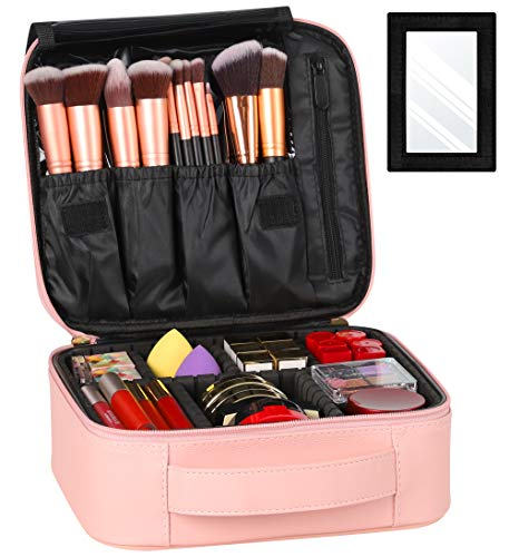 Syntus Travel Makeup Bag with Mirror, PU Leather Portable Train Cosmetic Case Organizer with Adjustable Dividers Large…