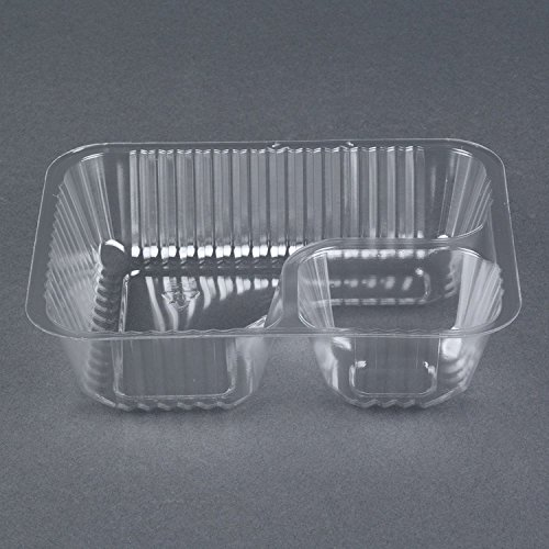 Carnival King Clear 2 Compartment Plastic Nacho Tray, 50-Pack, Small