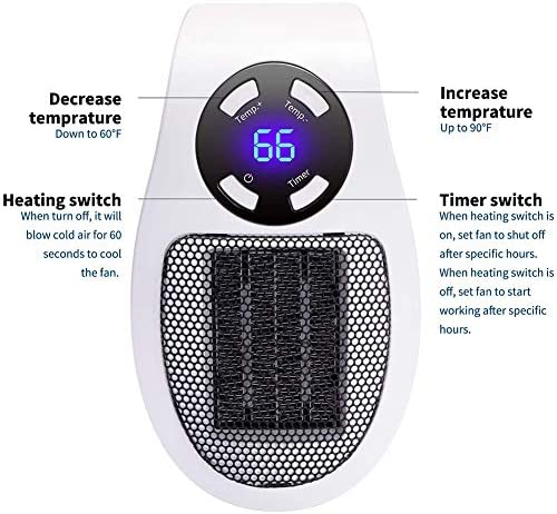 Perky 350W Electric Heater Fan Space Heater Wall Outlet Electric Space Heater As Seen on TV with Adjustable Thermostat & Timer & LED Display, Compact for Office Dorm Room