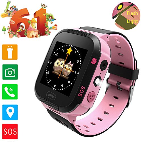 "Price comparison product image Smartwatch GPS Tracking for kids, with 1.4"" Touch Screen LED Light Phone Call Anti-lost Remote Camera Wristband Bracelet for Children (Black Pink)"