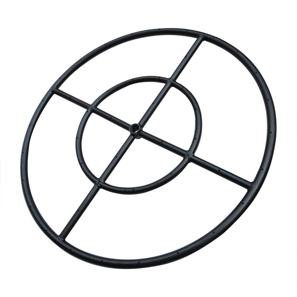 Stanbroil 24'' Round Fire Pit Burner Ring, Double Ring, Black Steel by Stanbroil