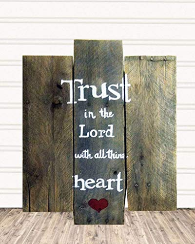 Trust in the Lord with All Your Heart Pallet Wood Christian Sign For Home Decor R10