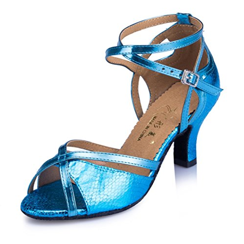 CRC Womens Stylish Peep Toe Snakeskin Leatherette Ballroom Morden Salsa Latin Tango Party Wedding Professional Dance Sandals Wathet Blue