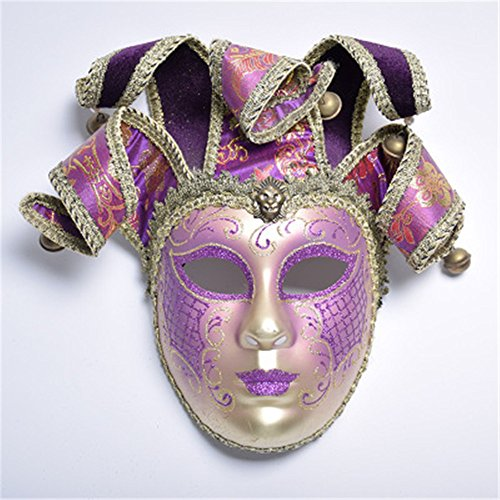 CHOP MALL Painting Masquerade Clown Purple Mask Happy Halloween Dress-Up Costume Party Novelty Mask for Halloween Party Masquerade Cosplay Festival Parties