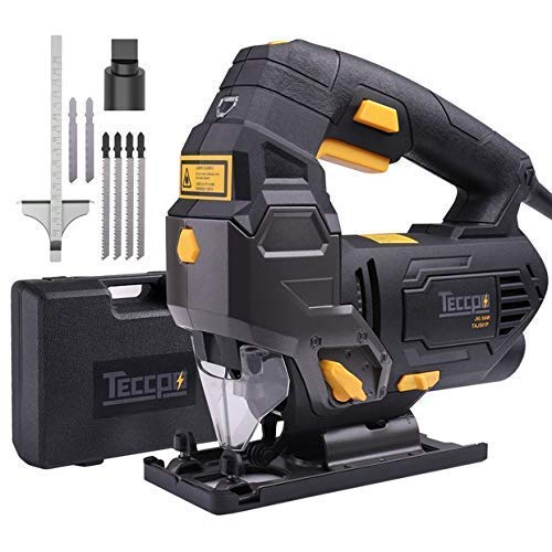 Review Jigsaw, TECCPO 6.5 Amp 3000SPM Jig Saw with Laser Guide, 6pcs Blades, Carrying Case, 78.74 In...