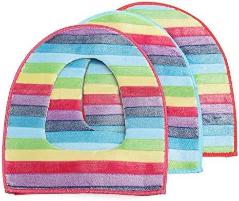 /épaissir couvertures de si/èges de toilette lavable en machine Yalulu 3/pcs doux arc-en-ciel Couleur Fermeture /Éclair chaud confortable pour abattant WC Pad