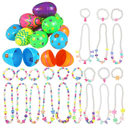 Mitcien 12Pcs Easter Eggs with 12 Necklaces and 12 Bracelets, Easter Eggs filled with toys, Surprise Plastic Colorful Easter Egg Toys for Easter Eggs decoration