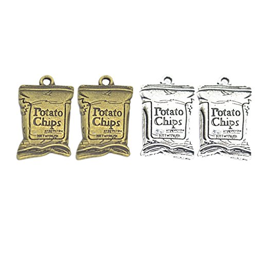 MagiDeal 2 x 2 Pieces of Colors 26 mm x 16 mm Potato Chip Bag Designs Charms for jewelry making,craft,vintage,pendants, antique bronze, tibetan silver colors ()