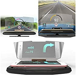 HaloVa GPS Navigation Holder, Universal In-Car HUD Head-Up Display, Multifunctional Reflection Projector Mobile Phone Bracket for iPhone Samsung with All Smart Phones