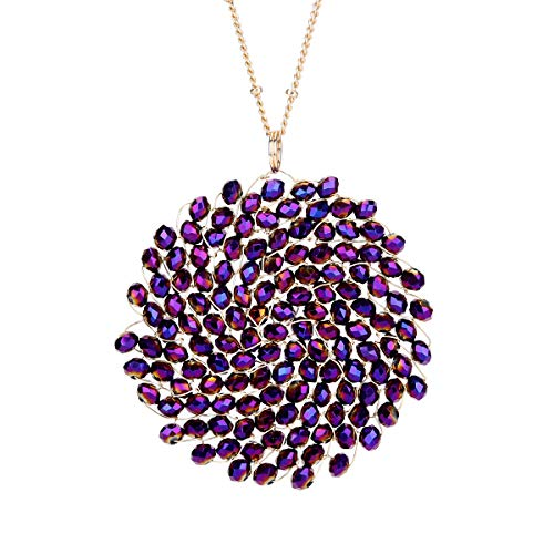 Niumike Hand-Made Crystal Pendant Circle Disc Necklace for Women,Charming Long Necklaces with Statement Pendant, Box (Purple)
