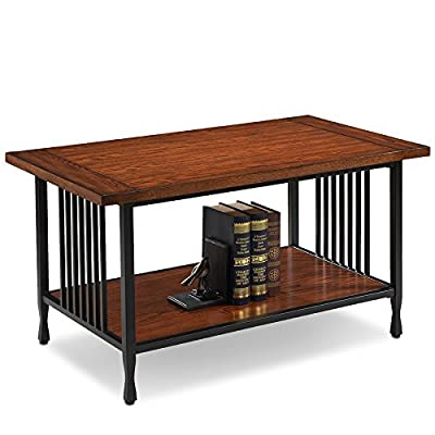 Leick Ironcraft Coffee Table - Blackened metal mission slats and legs with cinched metal toe design Hand applied Burnished medium oak finish Compact scale suitable for apartments/condos - living-room-furniture, living-room, coffee-tables - 51W Ynf0FfL. SS400  -