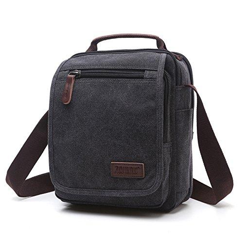 Eco Friendly Messenger (KARRESLY Retro Crossbody Shoulder Bag Small Messenger Bag Work Bag Hiking Traveling Bag For Men and Women(Black))