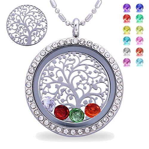 Family Tree of Life Birthstone Necklace, Magnetic Closure Floating Charm Living Memory Locket, Mothers Day Gifts, Mother in Law, Birthday Gifts for Mom Grandma Daughter Son, Alloy Diamond Necklace