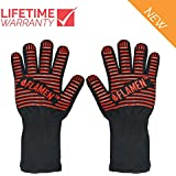 Flamen EN407 XL BBQ Grilling Cooking Gloves- 932 °F (500 °C) Heat Resistant Oven Gloves-14 Long for Extra Forearm Protection-1 Pair