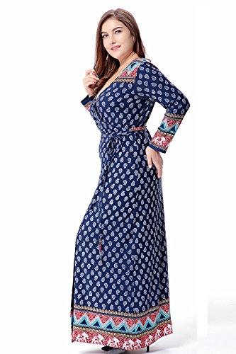 Donna scollo manicotto Marina floreale COMVIP a Wrap partito V Militare stampa abito del lungo Maxi del nAIOIW1dq