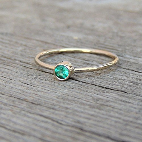 Tiny Diamond Cut Emerald Gemstone Ring – Silver or 14k Yellow Rose or White Gold, May Birthstone Stacking or Pinky Ring Hand-Made to Order