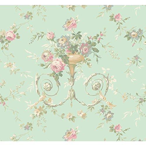 (Blue AK7466 Floral Urn Wallpaper)