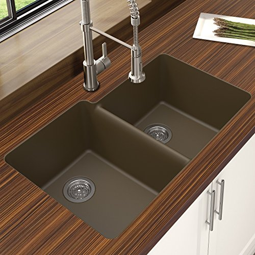 Winpro New Mocha Granite Quartz 33 x 20.5 x 9.5 Offset Double Bowl Undermount Sink