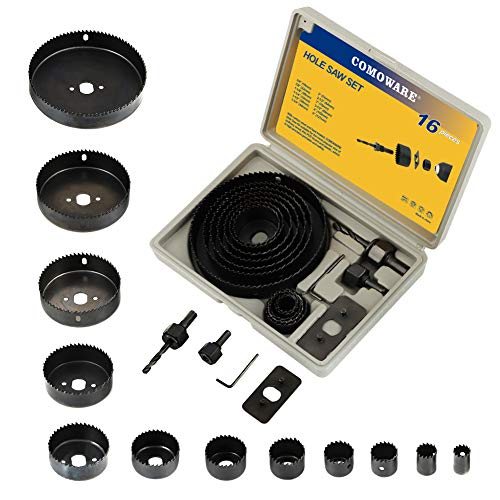 COMOWARE Hole Saw Kit for Wood- 16 Pieces 3/4''-5'' Full Set in Case with 1pcs Hex Key, 2pcs Mandrels and 1pcs Install Plate for PVC Board Plastic Plate Drilling Drywall and Soft Wood ()