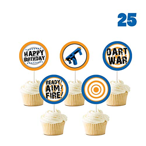 25 Count for Nerf Cupcake Toppers, Gun Picks Target Birthday Bullet War Cupcake Topper