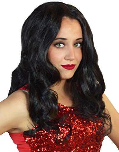 HDE Women's Black Wig Long Wavy Wonder Wig Cosplay Halloween Comic Book Costume Hair ()