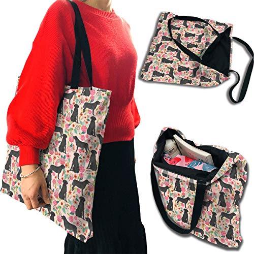 - MINIOZE Pink Black Labrador Dog Themed Eco Shoulder Grocery Beach Canvas Bag Reusable Shopping Tote Home Kitchen Decor Gift Men Women Girls Kids Bulk Large Carry On Ornament